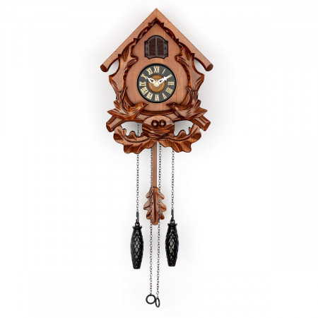 TIMEGEAR Small Cuckoo Clock with Night Mode (6056, Brown)