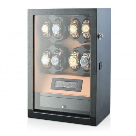 8 Watch Winder with Interior Light and Storage Drawer (Carbon+Brown)