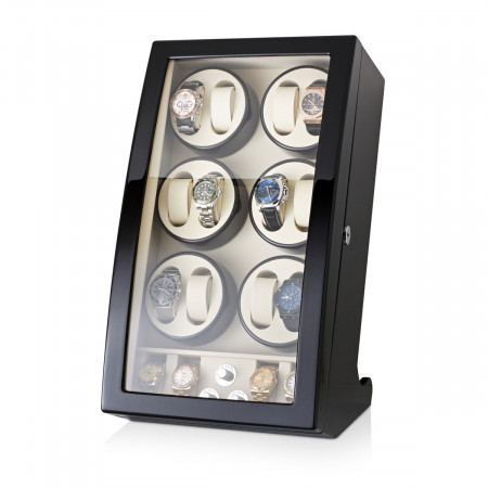 Watch Winder For 12 Watches with 4 Storage Slots (Black)
