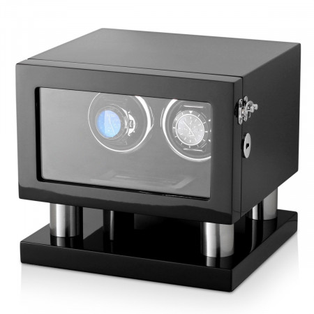 Leader Watch Winders Wooden Watch Winder for 2 Automatic Watches (Black)