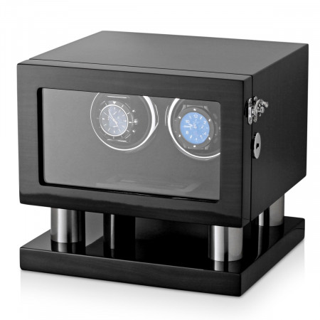 Wooden Watch Winder for 2 Automatic Watches (Black Grey)