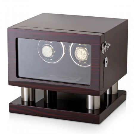 Leader Watch Winders Wooden Watch Winder for 2 Automatic Watches (Ebony)