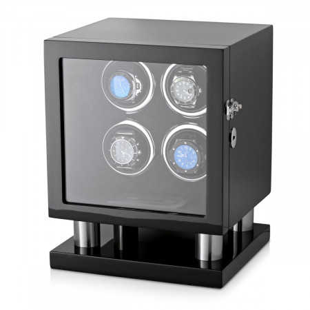 Leader Watch Winder Box for 4 Automatic Watches (Black)