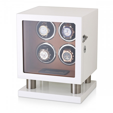 Watch Winder Box for 4 Automatic Watches (White + Brown)