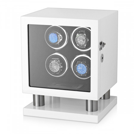 Watch Winder Box for 4 Automatic Watches (White)