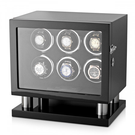 Leader Watch Winder for 6 Watches (Black)