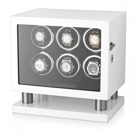 Leader Watch Winder for 6 Watches (White)