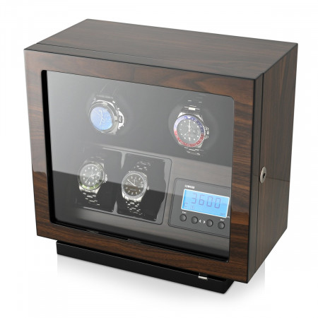 Double Watch Winder with Ultra-Quiet BLDC Motors (Walnut)