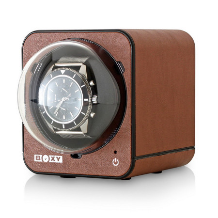 Fancy Brick Watch Winder (Brown Leather)
