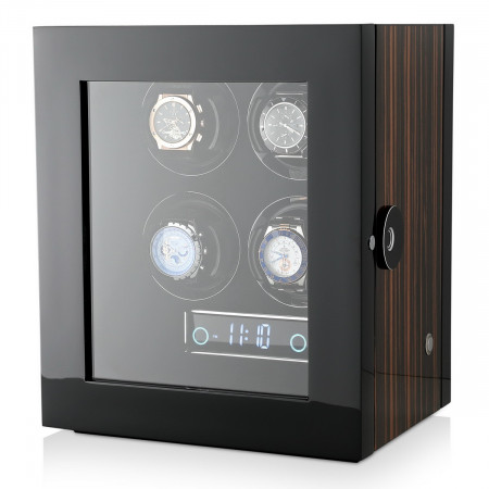 Premium 4 Watch Winder with Fingerprint Lock (Macassar)