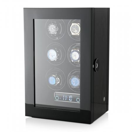 Premium 6 Watch Winder with Fingerprint Lock (Black Apricot)