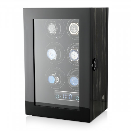 Premium 6 Watch Winder with Fingerprint Lock (Black Shadow)
