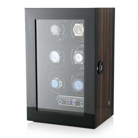 Premium 6 Watch Winder with Fingerprint Lock (Macassar)