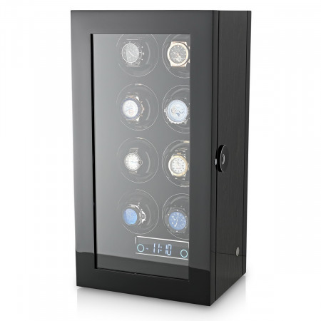 Premium 8 Watch Winder with Fingerprint Lock (Black Apricot)
