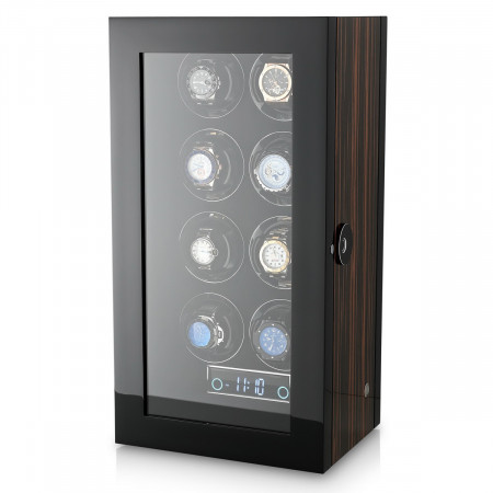 Premium 8 Watch Winder with Fingerprint Lock (Macassar)