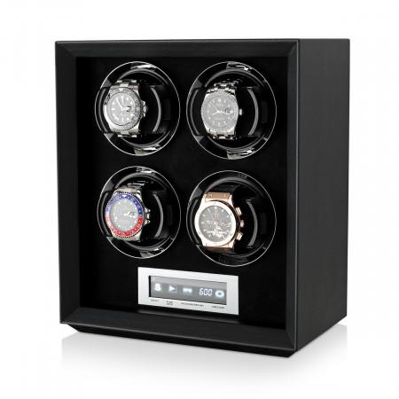Petite 4 Quad watch winder (Black Leather)