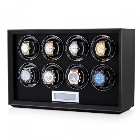 Petite 8 watch winder (Black Leather)