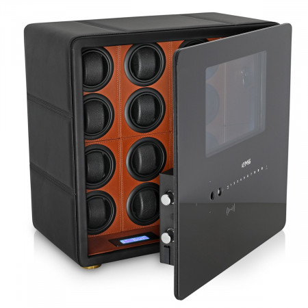 Watch Winder Safe for 12 Watches with Digital Lock and Alarm System (Black + Brown)