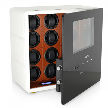 Watch Winder Safe for 12 Watches with Digital Lock and Alarm System (White)