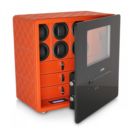 Watch Safe with 6 Winder Rotors and Jewelry Drawers (Orange)