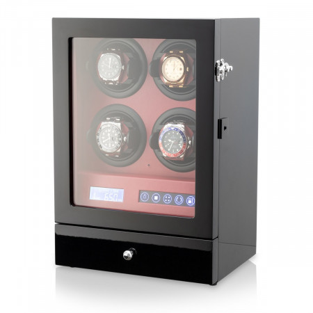 4 Watch Winder with Telescopic Watch Holders (Black)