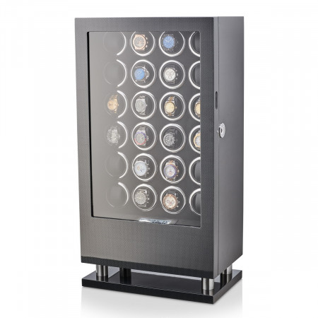 24 Watch Winder with Fingerprint Lock and Storage Drawer (Carbon)