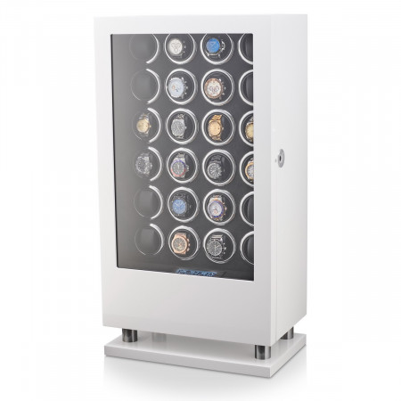 24 Watch Winder with Fingerprint Lock and Storage Drawer (White)