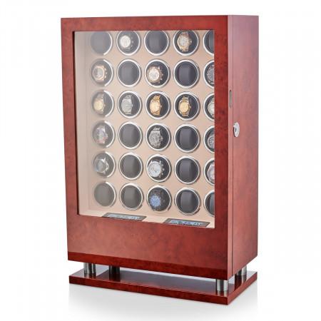 30 Watch Winder with Fingerprint Lock and Storage Drawer (Burl Wood)