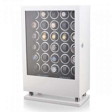 30 Watch Winder with Fingerprint Lock and Storage Drawer (White)