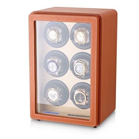 Leader Watch Winder with Faux Leather Finish (Brown)