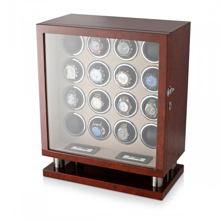 Leader Watch Winders 16 Watch Winder (Dark Burl)