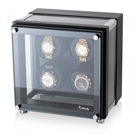 4 Watch Winder in Hi-Tech Style with Glass Case (Black)