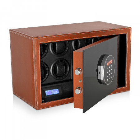 Watch Winder Safe LT-8 with Digital Lock and Interior Backlight (Brown)