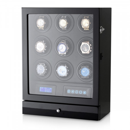Leader Watch Winder for 9 Watches (Black + Black)