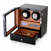 Double Watch Winder (Black + Brown)