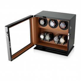 Leader Compact 7 Watch Winder (Black + Brown)