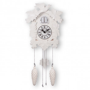 TIMEGEAR Cuckoo Clock with Night Mode and Quartz Movement (White)