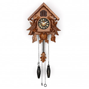 TIMEGEAR Small Cuckoo Clock with Night Mode (6057, Brown)