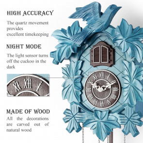 TIMEGEAR Cuckoo Clock with Night Mode and Quartz Movement (Blue)