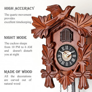 TIMEGEAR Small Cuckoo Clock with Night Mode (6038, Brown)