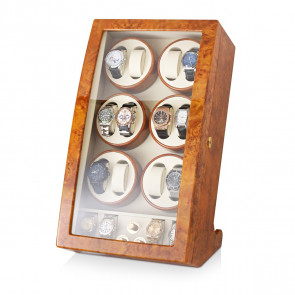 Watch Winder For 12 Watches with 4 Storage Slots (Burl Wood)