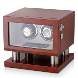 Leader Watch Winders Wooden Watch Winder for 2 Automatic Watches (Dark Burl)