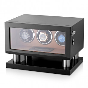 Leader Watch Winders Triple Watch Winder for Automatic Watches (Black + Brown)