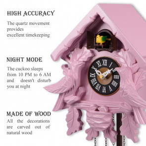 TIMEGEAR Small Cuckoo Clock with Night Mode (6057, Pink)