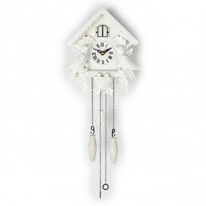 TIMEGEAR Small Cuckoo Clock with Night Mode (6057, White)