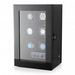 Premium 6 Watch Winder with Fingerprint Lock (Black Apricot)