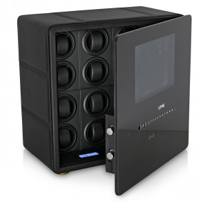 Watch Winder Safe for 12 Watches with Digital Lock and Alarm System (Black + Black)