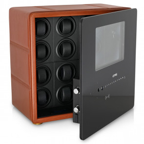 Watch Winder Safe for 12 Watches with Digital Lock and Alarm System (Brown + Black)