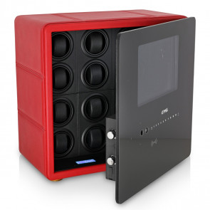 Watch Winder Safe for 12 Watches with Digital Lock and Alarm System (Red + Black)