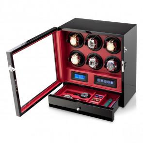 6 Watch Winder with Telescopic Watch Holders (Black)